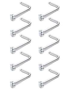 Sllaiss 10Pcs 20G Made with Austrian Crystal L Shaped Nose Rings 316L Stainless Steel Nose Studs Hypoallergenic Nose Piercing Set Body Jewelry 1.5mm 2mm