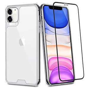 Aemotoy Crystal Clear Case for iPhone 11 Pro with Tempered Glass Shock Absorption Anti-Scratch Screen Protector Full Body Hard Shell TPU Cover Case for 2019 Release iPhone 5.8 11 Pro, Clear