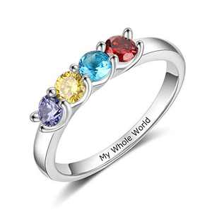 Personalized Mothers Rings with 2/3/4 Simulated Birthstones Custom Mother Daughter Ring Jewelry for Women Engagement Wedding Promise Rings for Her (4 stones, 8)