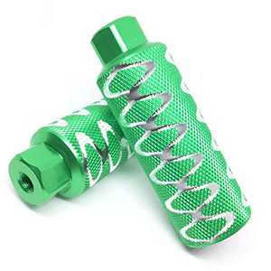 """WADEKING Bike Pegs 4.3"""" Length, Fit 3/8 inch Axles, for Freestyle BMX Bikes and All Kinds of Bicycles, Durable, Stylish Non-Slip Carving(2 Pieces)(Green)"""