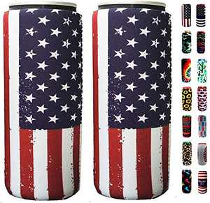 Slim Can Sleeves - Neoprene Bottle Insulator Sleeve Set of 2 Can Beverage Coolers for 12oz Energy Drink & Beer Cans (Flag)