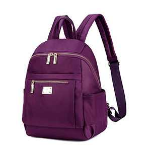 Women Fashion Lightweight Nylon Backpack Purse Small Bookbag for School Day Trip Zipper Everyday Casual Daypack