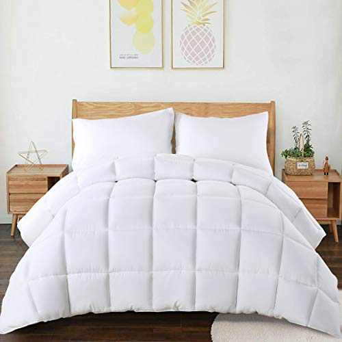 CHOKIT All Season Twin Comforter Soft Quilted Down Alternative Duvet Insert with Corner Loops,Box Stitched Reversible Fluffy Hotel Collection, White, 64 X 88 Inches