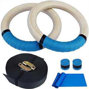 Hoocan Wood Gymnastics Rings Olympic Gym Ring Workout Exercise Rings with 14.76ft Straps for Men and Girls