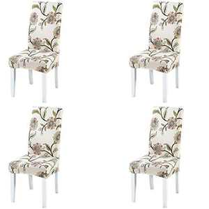 Umineux Stretch Dining Chair Covers, Printed Dining Chair Slipcovers, Removable Washable Spandex Short Chair Seat Protector for Dining Room, Hotel, Party (4 Per Set, Blooming Flower)