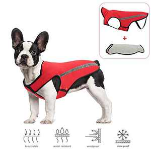 Slowton Dog Jacket, Winter Dog Coat Waterproof Windproof Warm Adjustable Pet Vest Reflective Snowsuit Detachable Flannel Lined Jackets Cold Weather Clothes for Small Medium Large Dogs (S, Red)