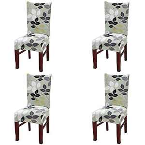 Umineux Stretch Dining Chair Covers, Printed Dining Chair Slipcovers, Removable Washable Spandex Short Chair Seat Protector for Dining Room, Hotel, Party (4 Per Set, Branch)