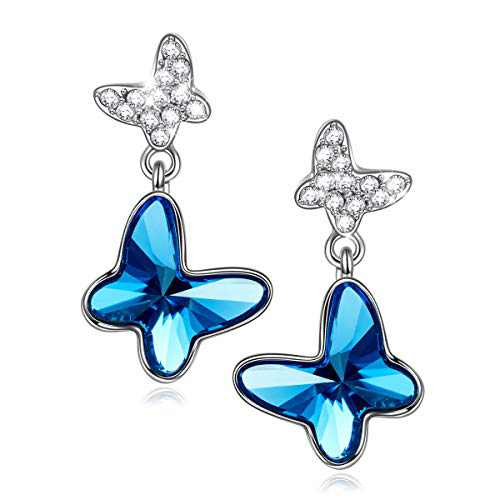 PAULINE&MORGEN 925 Sterling Silver Butterfly Earrings for Women Swarovski Crystal Light Blue Stud Earrings for Girls Erarings for Birthday Anniversary Gift for Girls Wife Daughter
