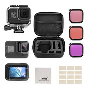 Deyard Accessories Kit Compatible with GoPro Hero 8 Black with Shockproof Small Case + Waterproof Case + Tempered Glass Screen Protector + Lens Filters + Anti-Fog Inserts Bundle
