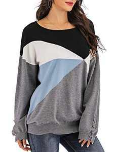 Yomoko Women's Cross Long Sleeve Color Block Loose Oversized Knit Pullover Sweater Tops L Gray