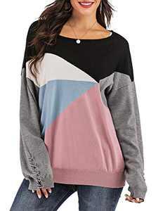 Yomoko Women's Cross Long Sleeve Color Block Loose Oversized Knit Pullover Sweater Tops L Pink