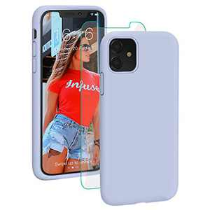 PROBIEN Liquid Silicone iPhone 11 Case with [Tempered Screen Protector] Shockproof Phone Case, Gel Rubber Full Body Drop Protection Cover for iPhone 11 6.1 inch-Light Blue