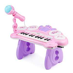 Reditmo Toddler Toy Keyboard, Kiddire Kid Piano 24 Keys with Microphone, 4 Drums, Build-in MP3 Songs, Suitable for 3-6 Years Old Kids, Baby, Boy, Girl, Educational Toy