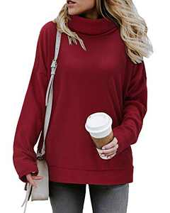 KILIG Women's Turtleneck Top Sweater Pullover Casual Long Sleeve Side Split Loose Sweater Shirts Knit Tunic Tops(Wine,XXL)
