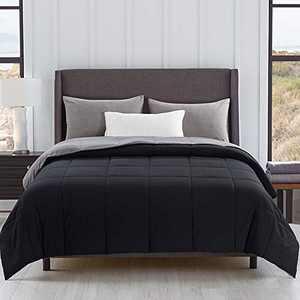 Cosybay Reversible Down Alternative Comforter Black/Grey - Corner Duvet Tabs- Double Sided & Lighweight -All Season Duvet Insert-Stand Alone Comforter– Full Size(82×86 Inch)