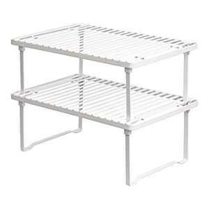 Amazon Basics Metal Stackable Kitchen Storage Shelves - White