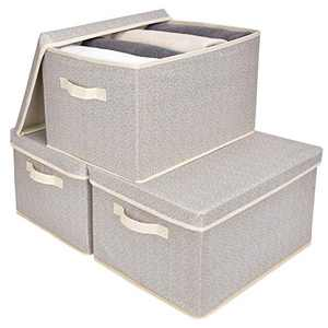 GRANNY SAYS Storage Bins for Closet with Lids and Handles, Rectangle Storage Box, Fabric Storage Baskets Containers, Beige, Extra Large, 3-Pack