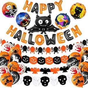 MIAHART Halloween Party Decoration Set Happy Halloween Banner with 4 Pcs Spider, Bat, Pumpkin Ghost Foil Balloon 4 Pack Halloween Garland and 18 pcs Latex Balloon for Halloween Bar Home Decor Supplies
