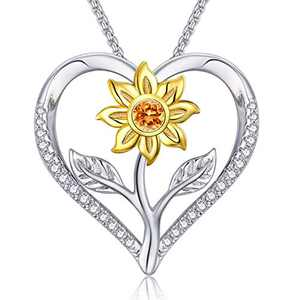 Klurent Sunflower Pendant Necklace Love Heart Jewelry, 925 Sterling Silver Jewelry My Sunshine Adjustable 18-20 Inches Thanksgiving, for Women, Girl.