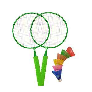 Macro Giant Badminton Set, with 2 Green Rackets, Colorful Plastic Shuttlecocks x6, Kids' Play, Backyard, Playground