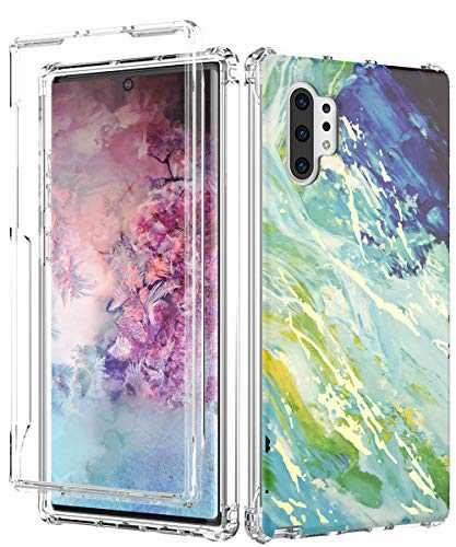 Galaxy Note 10+ Plus Case,Spevert Marble Pattern Shock Absorption Stylish Case Without Built-in Screen Protector Case Cover Compatible for Samsung Galaxy Note 10+ Plus (Blue Green)