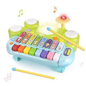 GrowthPic Music Toys Piano Keyboard Xylophone Drum, 3 in 1 Electronic Instrument Learning Baby Toy Xylophone for Kids Musical Table w/ Lights, Boys Girls Toddler Xmas Birthday Gift