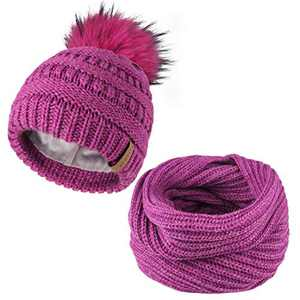 FURTALK Girls Beanie Winter Hat Scarf Set Kids Boys Knit Slouchy Cap Hats with Real Fur Pom Pom for Children Toddler (1-5Years)