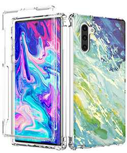 Galaxy Note 10 Case,Spevert Marble Pattern Shock Absorption Stylish Case Without Built-in Screen Protector Protective Case Cover Compatible for Samsung Galaxy Note 10 2019 Released (Blue Green)