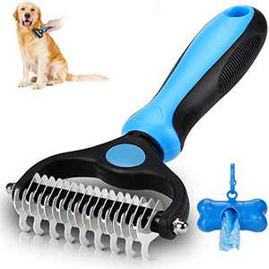 KAYI Dematting Brush Undercoat Rake for Dogs & Cats 2 Sided Professional Grooming Tool – Tangles Removing & Deshedding Brush