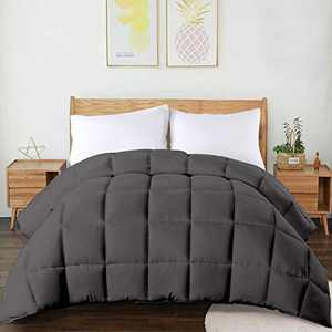 CHOKIT All Season Twin Comforter Soft Quilted Down Alternative Duvet Insert with Corner Loops,Box Stitched Reversible Fluffy Hotel Collection,Charcoal Grey, 64 x 88 Inches