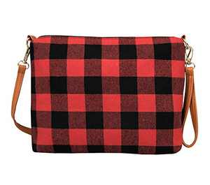 MONOBLANKS Women Buffalo Plaid Crossbody Purse Bag Small Shoulder Wristlet Phone Bag (Red Buffalo Plaid)