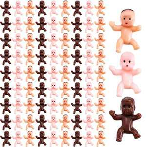 Tanlee 300 Pieces Mini Plastic Babies Baby Shower Party Favor Supplies Ice Cube Game Party Decoretions Baby Full Moon Gifts, 1 inch (Dark Brown, Latin, Pink)