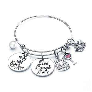 45th Birthday Gifts for Women, 45 Birthday Gifts for Women Bestfriend Friends BFF Co-Worker Sisters Birthday Christmas Valentine's Present Live Laugh Love Bracelet