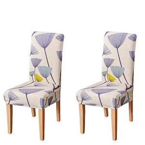 Umineux Stretch Dining Chair Covers, Printed Dining Chair Slipcovers, Removable Washable Spandex Short Chair Seat Protector for Dining Room, Hotel, Party (2 Per Set, Dandelion)