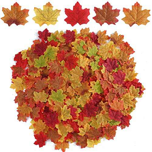 Beferr 250 PCS Mixed Color Autumn Artificial Maple Leaves for Fall Halloween Thanksgiving Weddings Party Festival Table Decorations