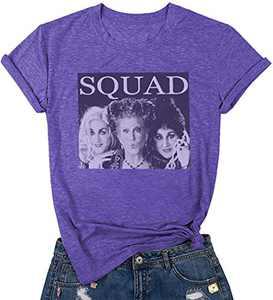 UNIQUEONE Halloween Shirt Women Sanderson Sisters T-Shirt Hocus Pocus T Shirt Halloween Letter Print Tee Shirts (Purple,XL)