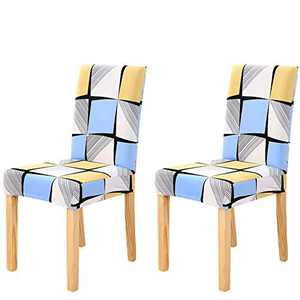 Umineux Stretch Dining Chair Covers, Printed Dining Chair Slipcovers, Removable Washable Spandex Short Chair Seat Protector for Dining Room, Hotel, Party (2 Per Set, Geometric)