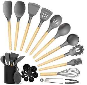 Silicone Cooking Utensil Set,GEEKHOM 23Pcs Kitchen Utensils Spatula Set with Utensil Holder for Nonstick Cookware, Heat Resistant BPA Free Non Toxic Kitchen Tools(Gray)