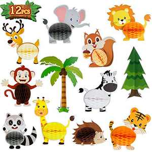 12 Pieces Animals Honeycombs Jungle Safari Animals Honeycomb Animals Honeycomb Centerpieces Animals Honeycomb Table Decorations for Birthday Baby Shower Party Supplies
