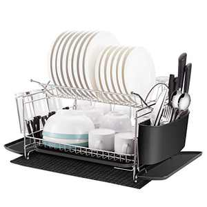 Kitchen Dish Drying Rack, Oyydecor 2 Tier 304 Stainless Steel Large Dish Drying Rack with Drainboard Set Utensil Holder Dish Drainer, Bonus Microfiber Mat and Dish Racks for Counter