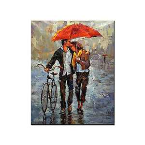 Romantic Canvas Prints Wall Art Couples Lovers with Red Umbrellas Hold Bicycles Landscape Wall Art Picture for Bedroom Bathroom Home Decor Ready to Hang