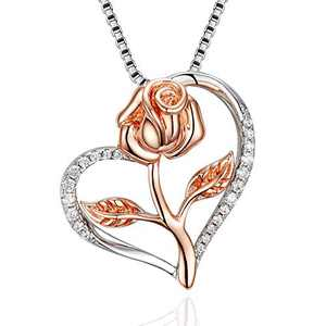 Klurent Valentines Day Rose Necklace for Women, Adjustable Silver Heart Pendant Jewelry, Necklace Gifts with Box for Wife, Girlfriend Birthday Mothers Day.