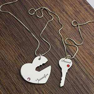 Customized Heart Couple Key Necklace, Personalized BFF Necklace for 2 Name Pendant Engraved Charm Jewelry Gift for Best Friend, Sister