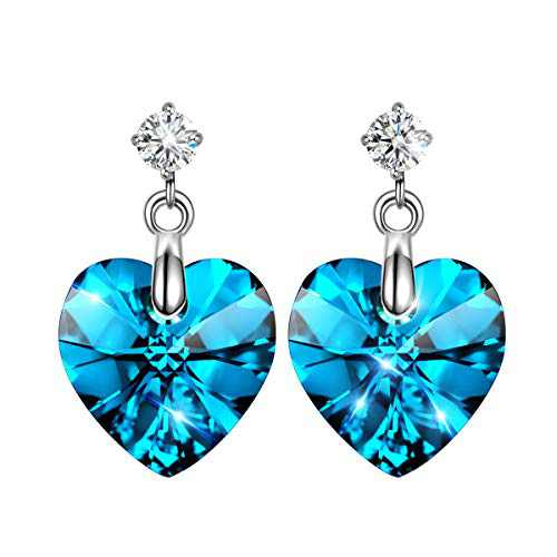 LADY COLOUR Crystals Heart Earrings,ღ Brillant Heart ღ,Bright Blue Heart Pierced Dangle Earrings,Earrings for Women, Crystals Jewelry with Gift Box Packing, Birthday Gifts Jewelry Gifts for Her