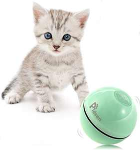 Pidsen Smart Interactive Cat Toy - Newest Version 360 Degree Self Rolling Ball, USB Charging LED Light Cat Toy, Stimulate Hunting Instinct for Your Kitty (Green)