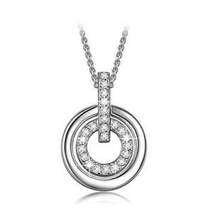 LADY COLOUR Jewelry Gifts for Mom Gifts for Girls Women Necklace Round Circle Pendant Necklace Crystals Jewelry Valentines Day Birthday Gifts Romantic Gifts for Women Wife Couple Gifts