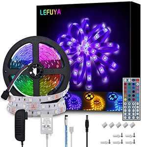 LEFUYA LED Light Strip 5050 RGB LED Strip 16.4ft LED Color Changing Strip Lights with Remote 44 Key, Flexible LED Strip Lights for Kitchen, Bedroom, Home, Bar, DIY Party Decoration