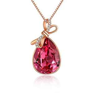 Quinby Bow Necklace for Women 18K Rose Gold Plated TearDrop Necklaces for Girls Embellished with Rose Pink Crystals from Swarovski Birthday Jewelry Gift for Women Mom