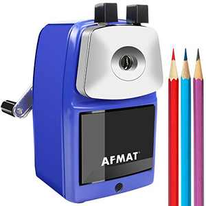 AFMAT Pencil Sharpener Manual, Heavy Duty Pencil Sharpener, Metal Pencil Sharpener for Classroom, Sharpen 6000 Times, Helical Steel Blade, Not Easy to Break, Perfect for Kids, Blue