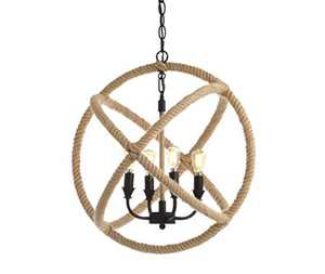 "JONATHAN Y JYL9041A Soka 4-Light 20"" Adjustable Globe Metal/Rope LED Chandelier, Cottage, Industrial, Rustic, Transitional for Kitchen, Living Room, Black/Brown"